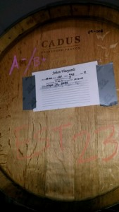 A Pinot Noir barrel with an A-/B+ rating that is going into our Estate Pinot Noir.